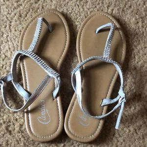Sparkly rhinestone thong sandals
